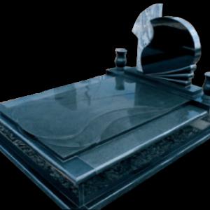 Csepp fedlapos síremlék kétrészes fejkővel